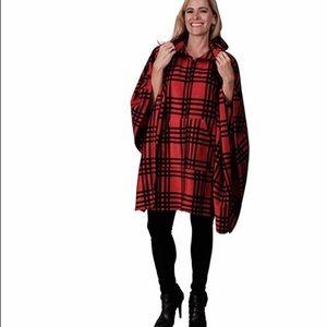 Jackets & Blazers - Red and Black Plaid Fleece Wrap